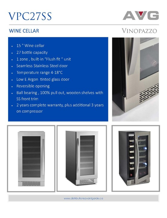 Wine cellar 15'' | 27 bottles |1 zone